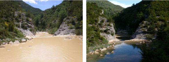 El caudal del Río Isuala cerca del Vado.