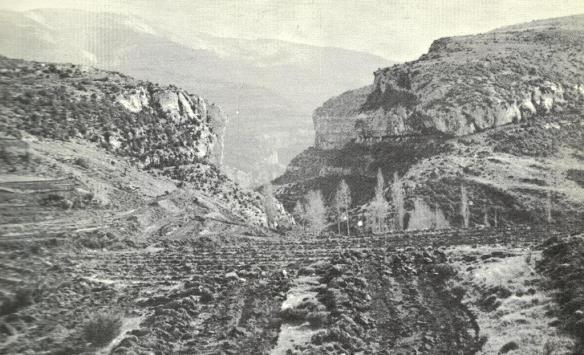 El corte del Barranco Raisen cerca de Otín