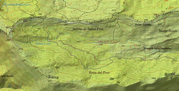 Mapa de los prados de Bonés