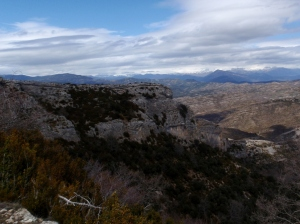 Vistas desde el camino al Corral Villanueva a la Cresta y las Cuevas de Bagüeste